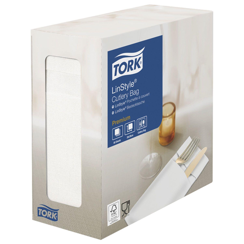 "TORK / White non-woven envelopes for cutlery ""LinStyle Premium"", 39x39 cm, 60 pcs."