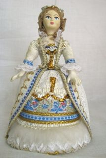 Doll gift porcelain. Fantasy based on the French costume. 18th century.