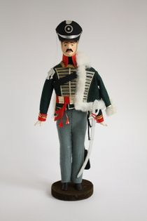 Doll gift porcelain. Hussars. Military uniform of the early 19th century. Russia.