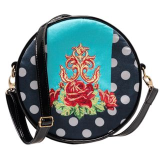 "Velvet bag ""Dolce Rose"" blue with bright print"