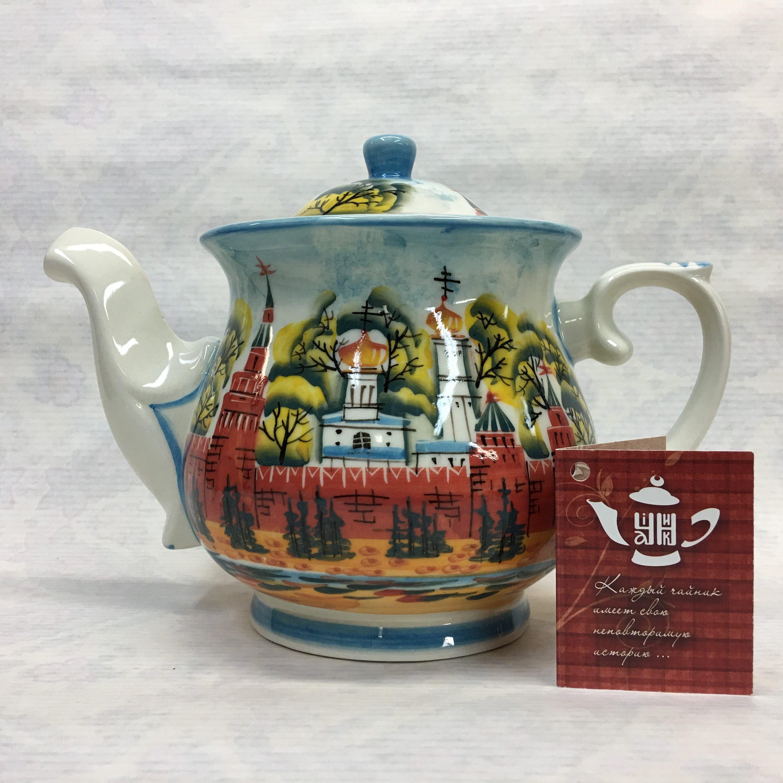 """Cheerful porcelain / Porcelain teapot """"Kremlin Moscow"""", author Ogorodnikova O."""