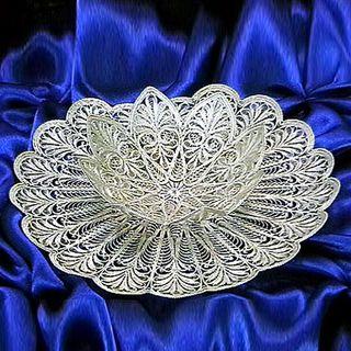 """Kazakovskaya Filigree / Plate """"Water Lily"""" silvering"""