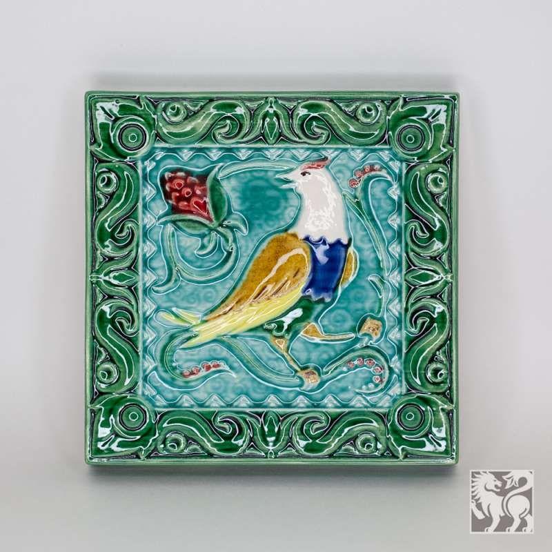"Yaroslavl majolica / Tile ""Nightingale"", green"