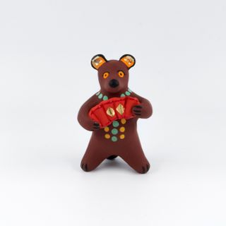 Clay figurine of a Bear with an accordion 6 x 10 x 5, Dymkovo toys