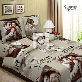 """Sweet couple"" bed linen - coarse calico"