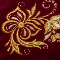 Velvet cosmetic bag 'Holiday' Burgundy with gold embroidery