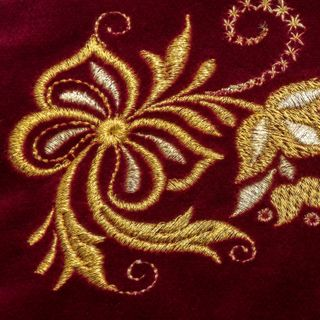 "Velvet cosmetic bag ""Holiday"" Burgundy with gold embroidery"