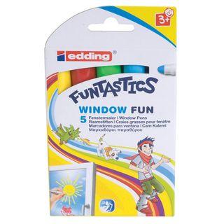 Edding / Funtastics Color Marker Pens Set for Fabric, 2-3mm, 5 Colors, Cardboard Box 5 Colors