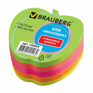 Unit self-adhesive (stickers), curly, BRAUBERG, NEON Apple, 400 sheets, 5 colors
