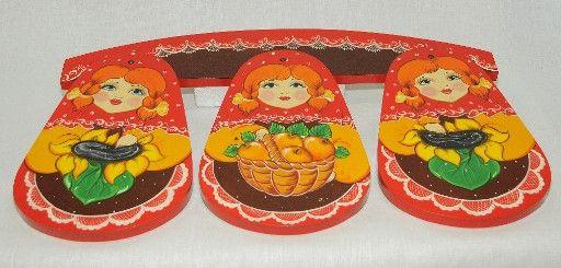 Vyatka souvenir / Kitchen set boards 'Drop', 4 pr.