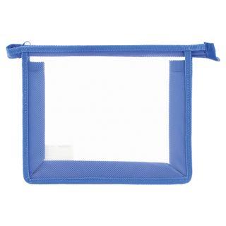 Folder for notebooks A5 PYTHAGORAS, plastic, zipper top, transparent, blue