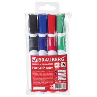 Markers for whiteboard BRAUBERG SOFT, 4 PCs SET, ASSORTED, rubber insert, round tip, 5 mm