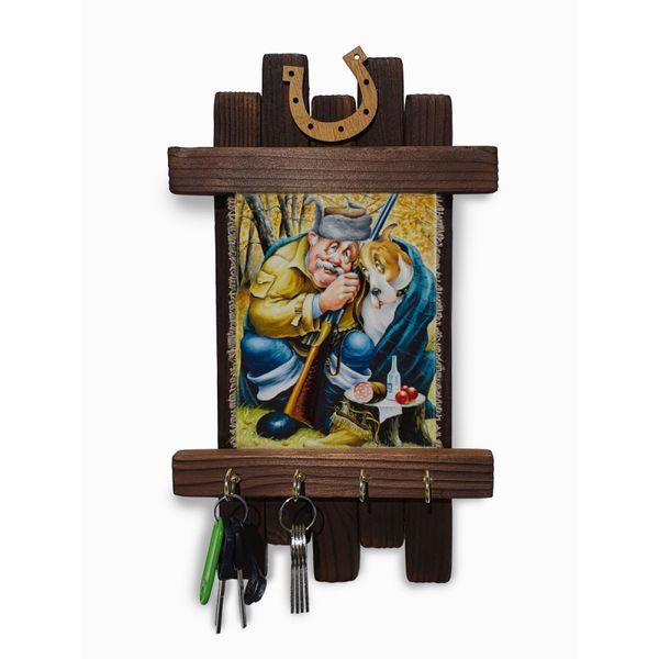 "Universal scroll / Handmade wooden wall key holder ""Hunters"""