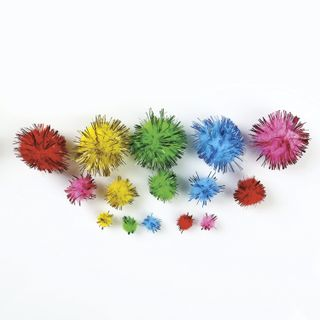 POM-poms for creativity, brilliant cuts, 5 colors, 8 mm/15 mm/25 mm, 100 PCs., TREASURE ISLAND