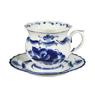 A couple of tea saucer Olga 1st grade, Gzhel Porcelain factory