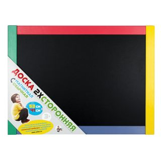 The double-sided chalk Board and magnetic marker (53х41 cm), wooden frame, bag, 10 KINGDOM