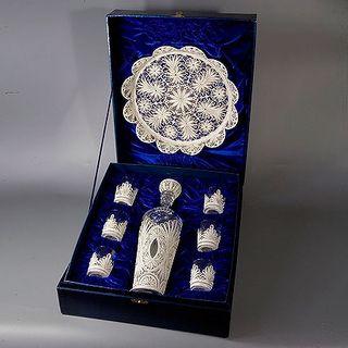 """Kazakovskaya Filigree / Set """"Scheherazade"""" for wine (tray, damask, 6 stacks)"""