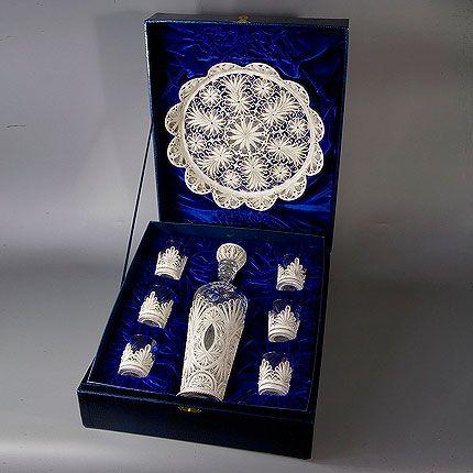 Kazakovskaya Filigree / Set 'Scheherazade' for wine (tray, damask, 6 stacks)
