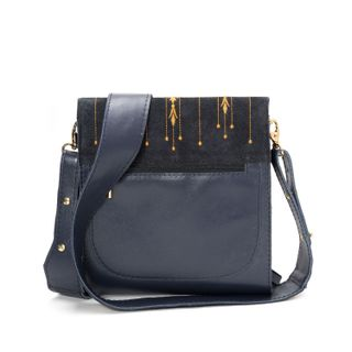 "Leather bag ""Marlene"" blue with silk embroidery"