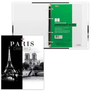 Notebook on A5 rings (170x220 mm), 120 sheets, laminated cardboard cover, cage, HATBER,