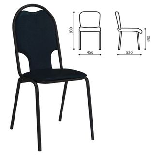 MS02M visitor chair, black frame, leather black