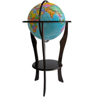 Political globe with a diameter of 420 mm embossed on a wooden floor stand