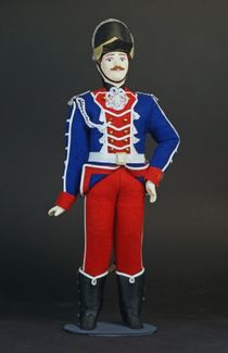 Doll gift. Trumpeter. The military uniform. The end of the 18th century. Russia.