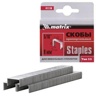 Staples for furniture stapler, type 53, 8 mm, MATRIX, quantity 1000 pcs.