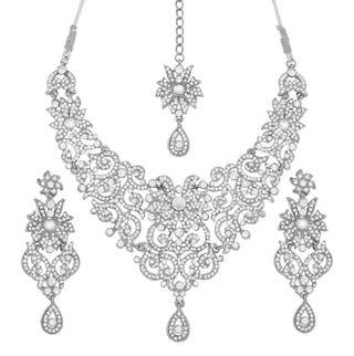 Touchstone Sparkling Austrian Diamonds Alloy Metal Silver Tone Necklace Set With Maangtika For Women