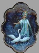 Kholui art varnish miniature brooch The Frog Princess