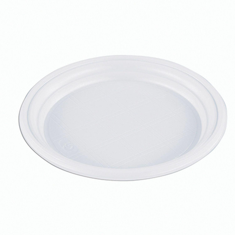 "STIROLPLAST / Disposable flat plates, SET 100 pieces, plastic, d = 165 mm, ""ECONOM"", white, polystyrene (PS), cold / hot"