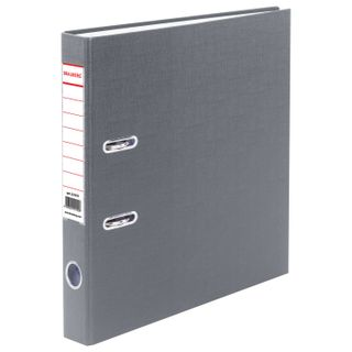 Folder-Registrar BRAUBERG with PVC coating, 50 mm, grey (double life)