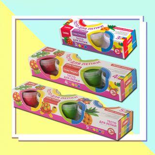 """Dough for molding """"Plastishka"""", 3-4-5 colors on 80 gr. - developing toy-set for children's creativity"""