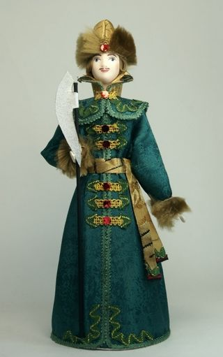 Doll gift porcelain. Moscow Strelets. The Rus 17th century.