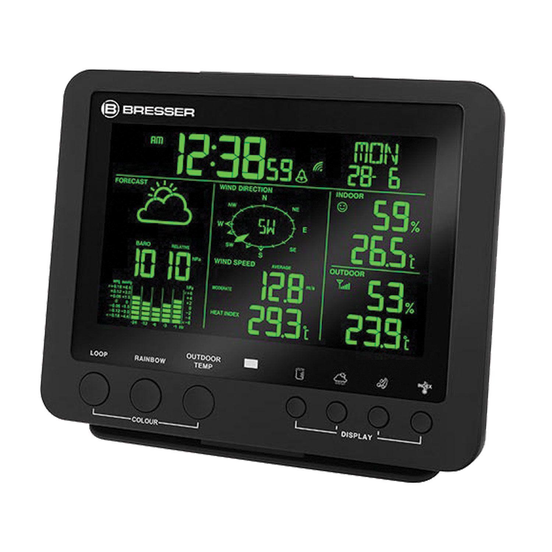 BRESSER weather station 5 in 1, temperature sensor, hygrometer, barometer, anemometer, rain gauge, alarm clock, black