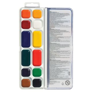 Watercolors Fantasy 12 colors (8+4 increased the cuvette), on the gum, without a brush