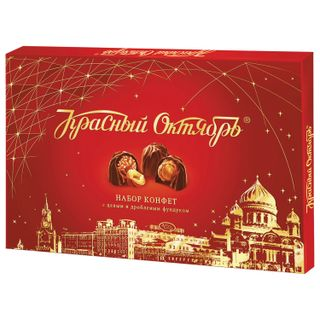 Chocolate candies RED OCTOBER with cream filling and hazelnuts, 200 g, cardboard box