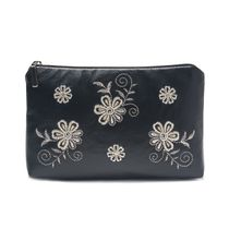 Leather cosmetic bag 'Joy' in black with silver embroidery