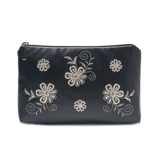 "Leather cosmetic bag ""Joy"" in black with silver embroidery"