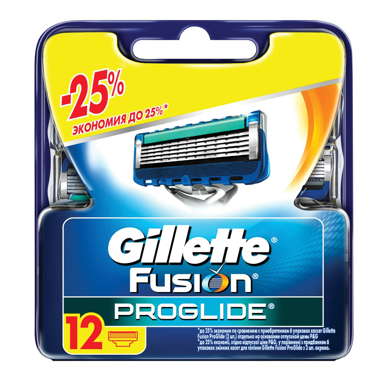 """Replacement shaving cassettes 12 pcs. GILLETTE """"Fusion ProGlide"""", for men"""