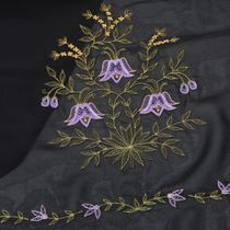 Tippet 'Freshness' in black with silk embroidery