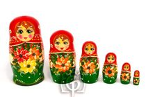 Russian woman - Matryoshka booklet, 6 dolls - booklet number 18