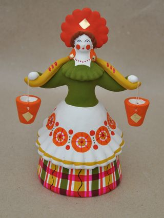 Dymkovo clay toy, the Lady peasant (the water-bearer)