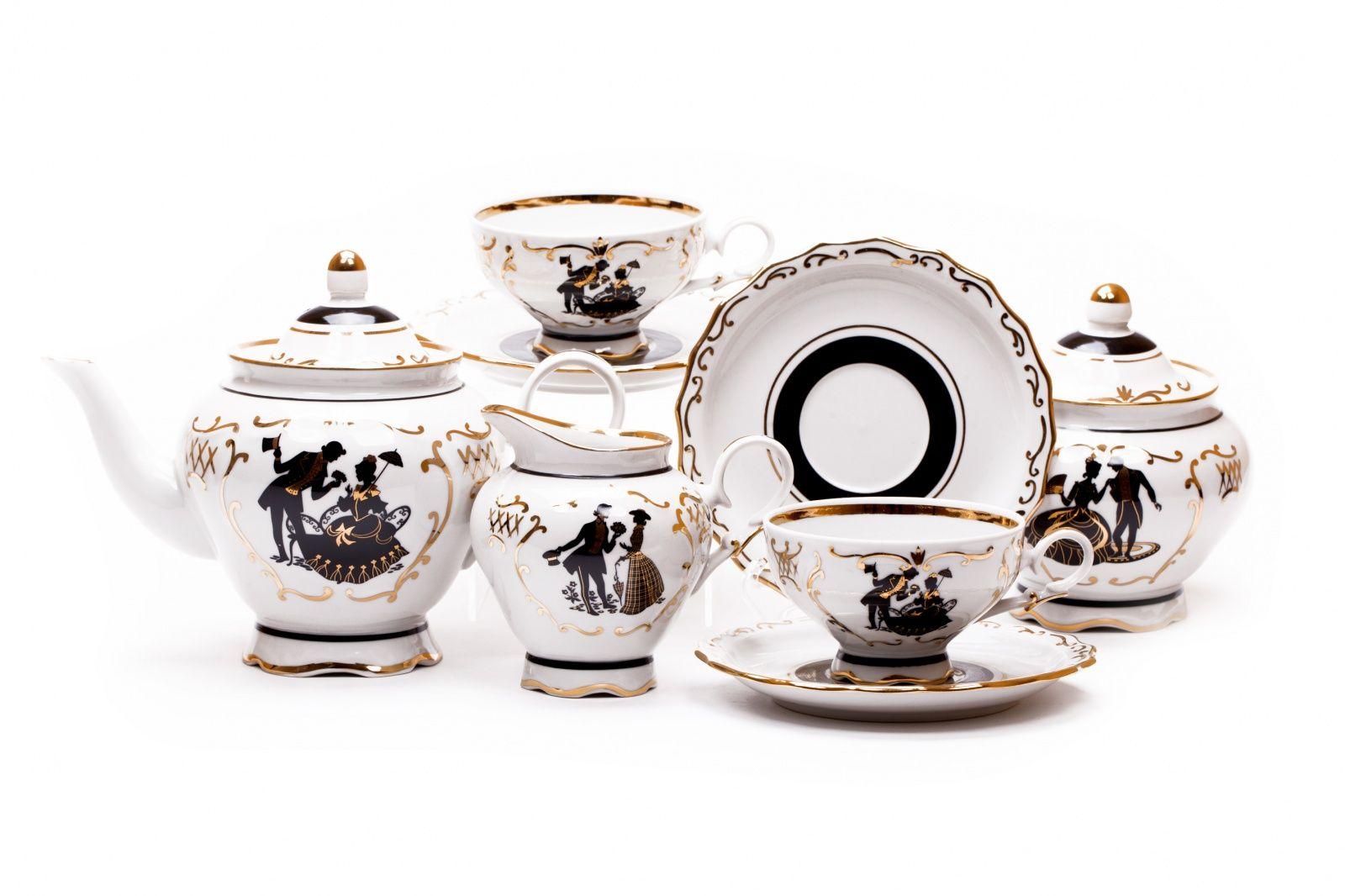Dulevo porcelain / Tea set 15 pcs. Agate Silhouettes