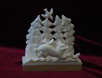 Business card holder 'Bear with fish'