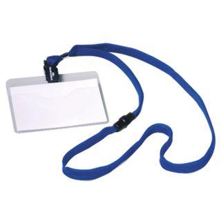 DURABLE / Badges horizontal on a blue ribbon 44 cm, 60x90 mm, SET 10 pcs.