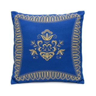 "Cushion divan ""Transparent"" blue color with Golden embroidery"