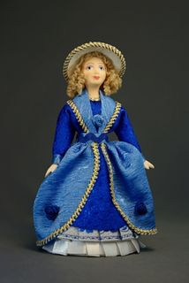 Doll gift porcelain. Lady in walking dress. The end of the 18th century. Russia.