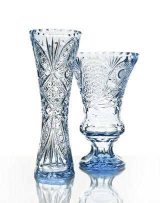 """Crystal vase for flowers """"Geyser"""" blue"""