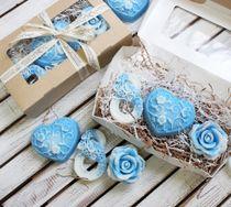 Original woman gift Set handmade soap Blue Tenderness